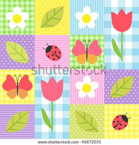 Spring background with flowers, butterflies, ladybugs and leafs. Raster version. - stock photo