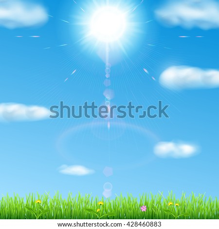 Spring background with sky, sun, clouds, grass, and flowers - stock photo