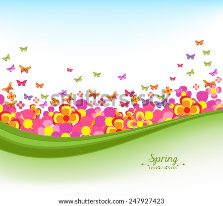 spring banners with flower colorful and blue sky - stock photo