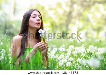 Spring Beauty outdoors.Perfect skin - stock photo