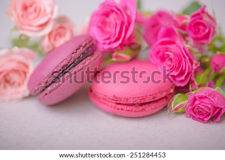 spring berry pastel color macaroons with roses backgroundfor valentines mother day easter with love - stock photo