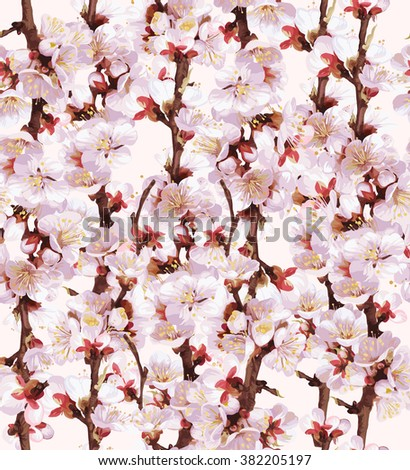 Spring blooming twigs seamless pattern. Plum or apricot flowering branches on tony solid background. Pink flowers texture. - stock photo
