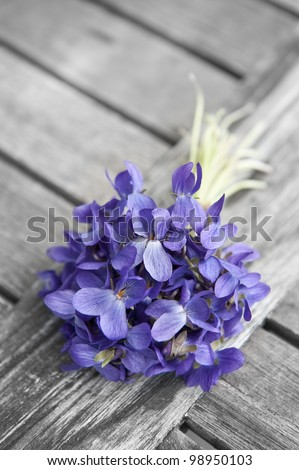 spring bouquet of violets on old wooden table - stock photo