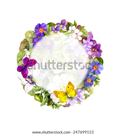 Spring butterflies, meadow flowers, wild grass for greeting card. Floral wreath. Watercolor  - stock photo