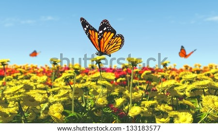 Spring butterfly flowers illustration 3D - stock photo
