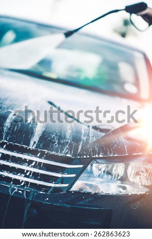 Spring Car Cleaning. Car Wash Day. Transportation Theme. - stock photo