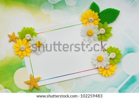 spring card background with flowers and gumpaste stars - stock photo