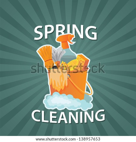 Spring Cleaning Burst Design Element. jpg - stock photo