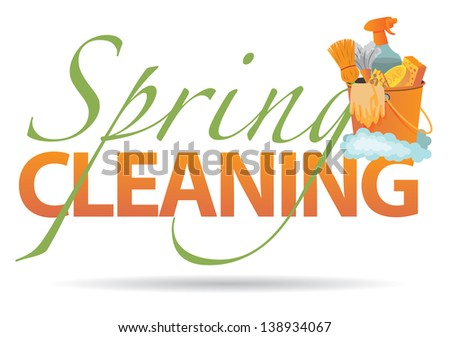 Spring cleaning design element. jpg - stock photo