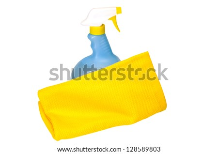 Spring cleaning with cleaning solution and towel.  Isolated image on white background with clipping path. - stock photo