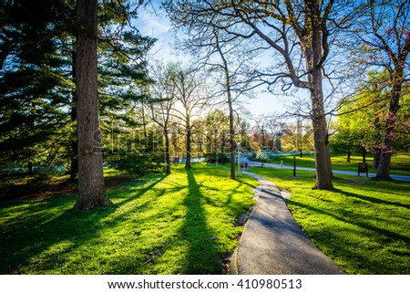Spring color and walkway at Notre Dame of Maryland University, in Baltimore, Maryland. - stock photo