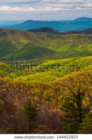 Spring colors in the Appalachians, seen from Blackrock Summit in Shenandoah National Park, Virginia. - stock photo