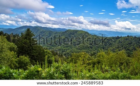 Spring Comes To The Smokies. Beautiful sunny spring day at the Newfound Gap Overlook. Great Smoky Mountain National Park. Gatlinburg, Tennessee. - stock photo