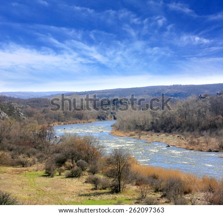 spring day on big river - stock photo