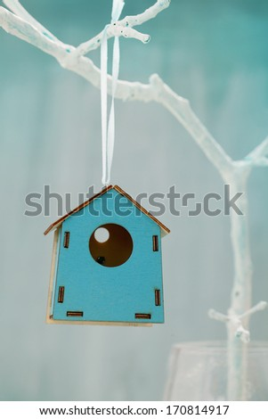 Spring decoration. Easter ornament.  Bird house - stock photo