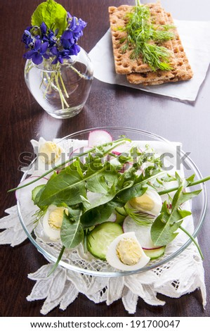 Spring diet salad with eggs, radish, cucumbers and dandelion leaves with crisp bread - stock photo