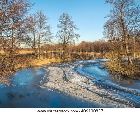 Spring evening. River Sukhodrev, Kaluga region, Russia - stock photo