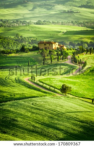 Spring fields and meadows in Italy - stock photo