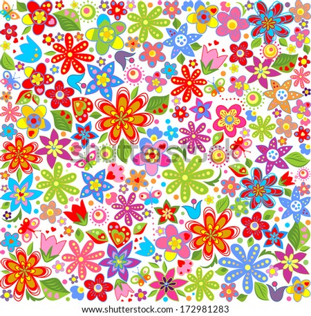 Spring floral wallpaper - stock photo