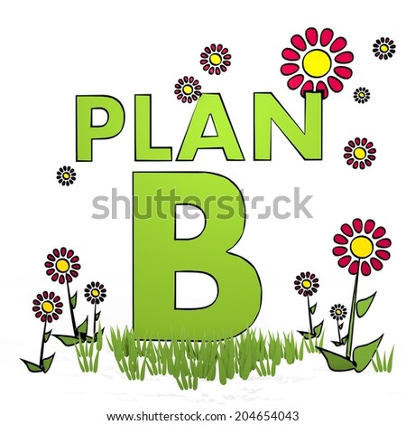 spring flower hand drawn sketch of plan b with simple flowers on white background - stock photo