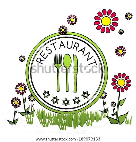 spring flower hand drawn sketch of restaurant with fresh flowers on white background - stock photo