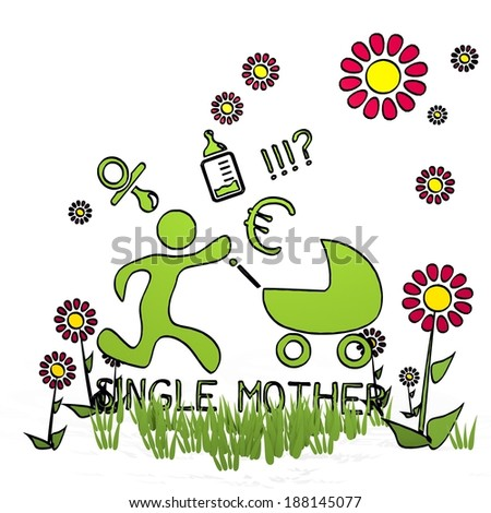 spring flower hand drawn sketch of single mother with hand drawn flowers on white background - stock photo