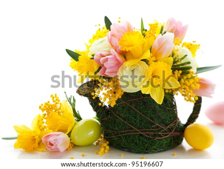 spring flowers and  easter eggs for holiday - stock photo