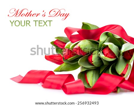 Spring Flowers bunch. Beautiful red Tulips bouquet with satin ribbon. Elegant Easter or Mother's Day gift isolated on a white background. Springtime - stock photo