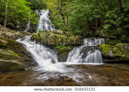 Spring foliage and triple falls in the Great Smoky Mountains National Park in Tennessee  - stock photo