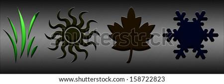 Spring. Four seasons concept with illuminated symbols - stock photo