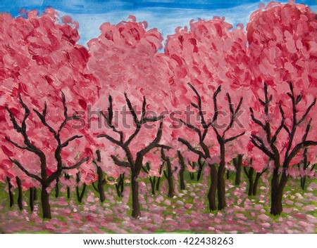 Spring garden in blossom in crimson colours, oil painting on acryl background. - stock photo