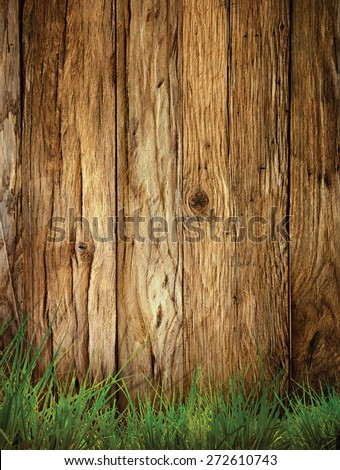 Spring grass background. Grass over wood. Nature background with grass and wood - stock photo
