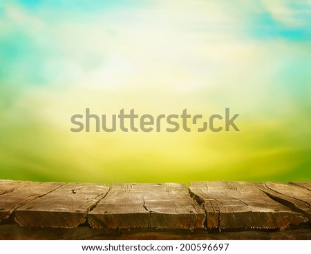 Spring green background. Grass and cloudscape art Design. Summer landscape concept. - stock photo