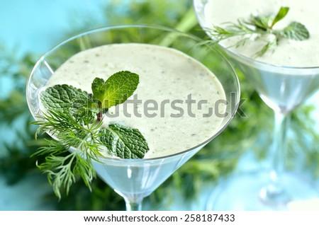 Spring herbs and yogurt smoothie, diet vitamin drink - stock photo