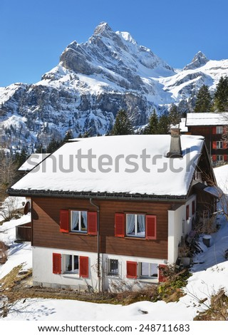Spring in famous Swiss skiing resort  - stock photo