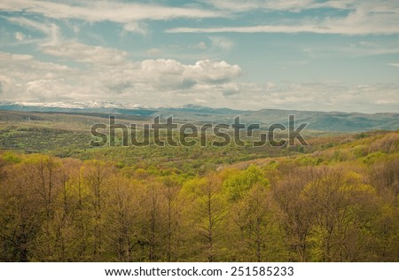 Spring in the mountains of the Caucasus, Republic of Adygea - stock photo
