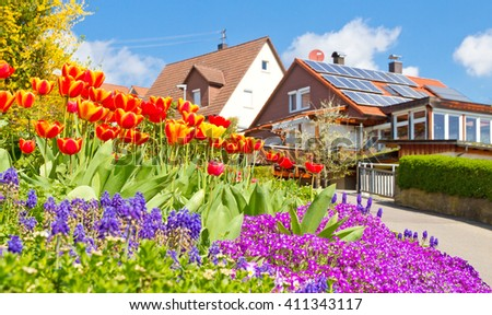 Spring in the village - stock photo