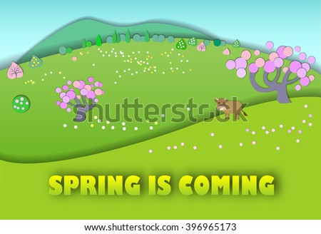 Spring is coming.The beginning of spring.Concept change of seasons.Paper cut style.Green spring meadow with blossoming tree, banner.Cow on pastures - stock photo