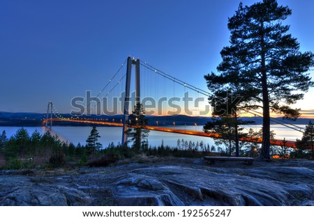 Spring landscape for beautiful Swedish bridge  - stock photo