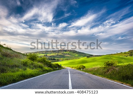 Spring landscape of Tuscany overlooking the medieval town of Pienza. - stock photo