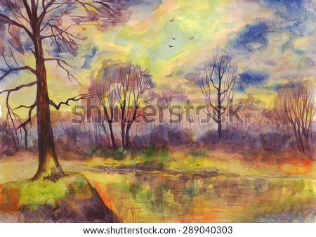 Spring landscape sunset on the river. Painting. Watercolor - stock photo