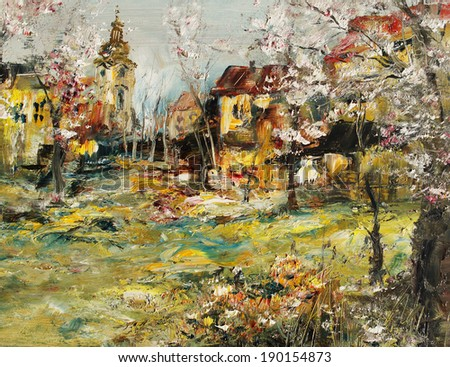Spring landscape with church, oil painting        - stock photo