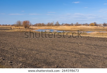 Spring landscape with plough-lands in Poltavsk oblast, central UKraine - stock photo