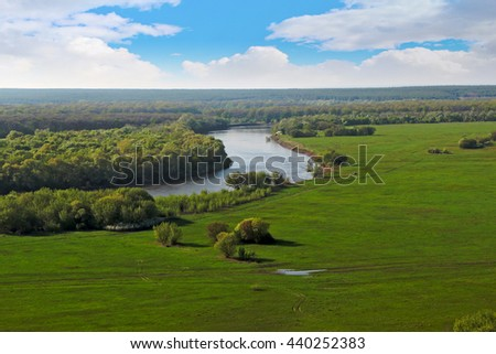 Spring landscape with rivers and hills Don river meadows. Divnogorie - stock photo