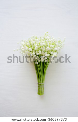 spring lilies of the valley, flowers top view - stock photo