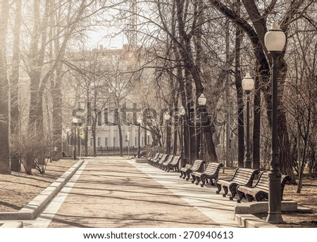 Spring morning view of the boulevard in the historical city center. - stock photo