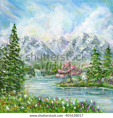 Spring mountain landscape. Original acrylic hand painting illustration - stock photo