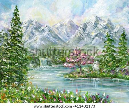 Spring mountain landscape. Original acrylic hand painting illustration - stock photo