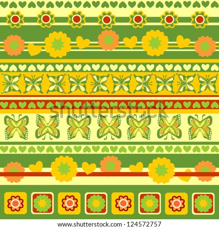 Spring Objects in Patterns, Scrapbook Ribbons of Flowers, Hearts, Butterflies, Raster Version - stock photo