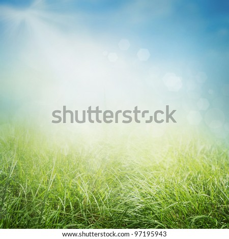 Spring or summer abstract nature background with grass in the meadow and sunny sky in the back - stock photo